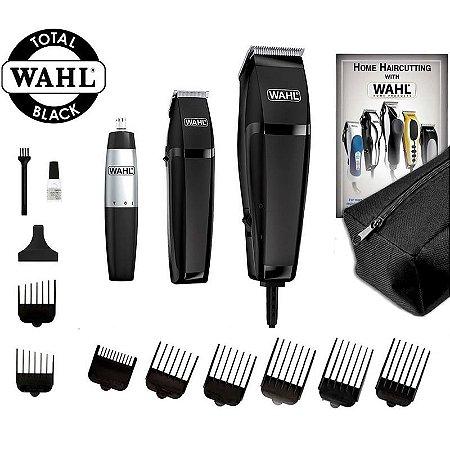 Kit Wahl Total Black Máquina de Cortar Cabelo, Trimmer Acabamento e Aparador de Pelos + Necessaire