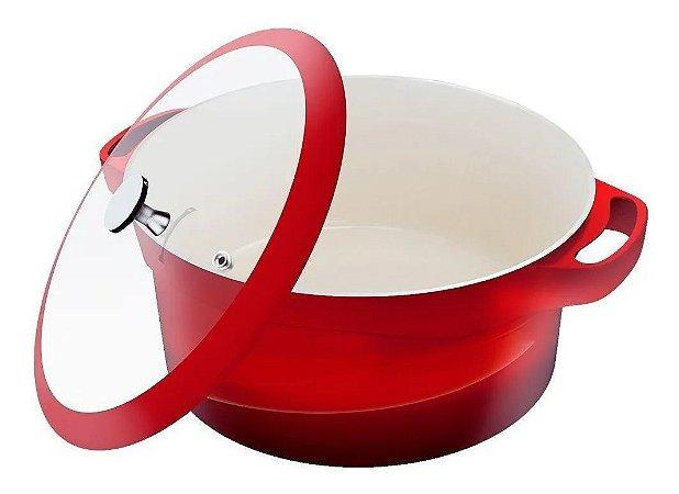 Panela Cerâmica Antiaderente Caçarola 32 Cm Le Cook Vermelha