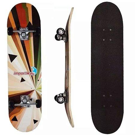 """Kit Skate Infantil 31"""" Importway Shape Em Madeira Lixa Antiaderente"""