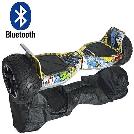 "Hoverboard Skate Elétrico 8.5"" Off Road Cross Rally Bluetooth Bivolt Até 100 kg"