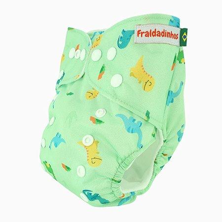 Fralda ecológica - Verde bebê - Dinos