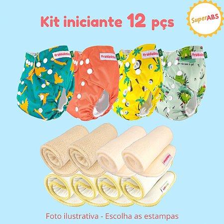 Kit iniciante de fraldas de pano ecológicas - 12 peças