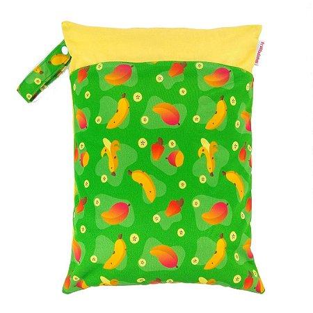Sacola impermeável para fralda de pano ecológica - Verde - Manga, caju e banana