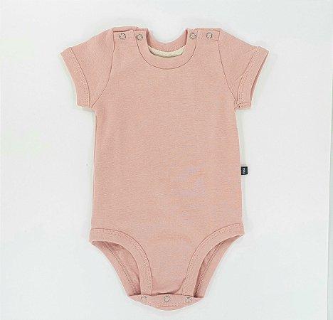 Body para bebê -  Manga curta - Rosa claro