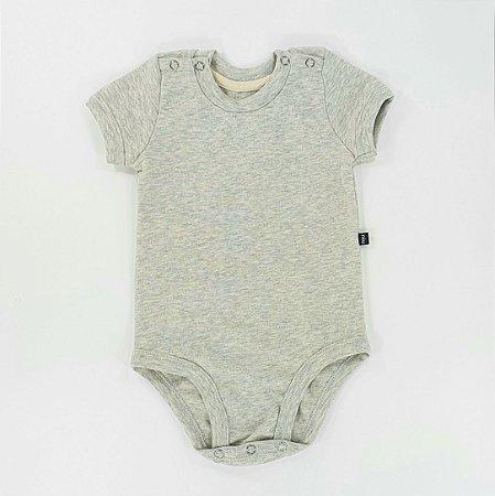 Body para bebê -  Manga curta - Mescla cinza
