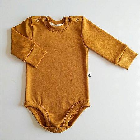 Body para bebê -  Manga longa - Mostarda