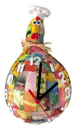 Relógio De Parede Galo Em Cabaça Chef De Cozinha - Decoração