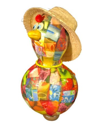 Galinha Caipira cabaça c/ chapéu de palha - Decoração Casa