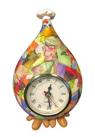 Relógio de Mesa Galinha Cabaça Gourmet - Enfeite Cozinha