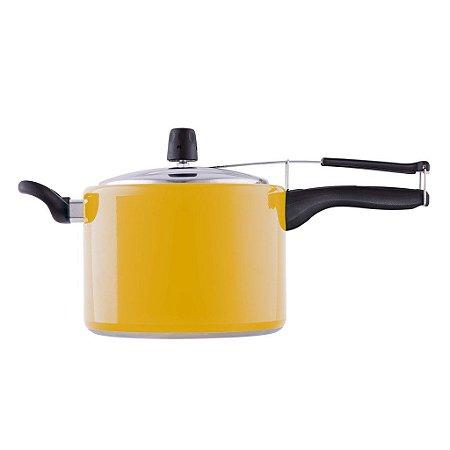 Panela de Pressão Antiaderente Amarela 4,5L