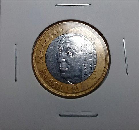 Moeda 1 Real 2002 Comemorativa Centenário Juscelino Kubitschek Bimetálica