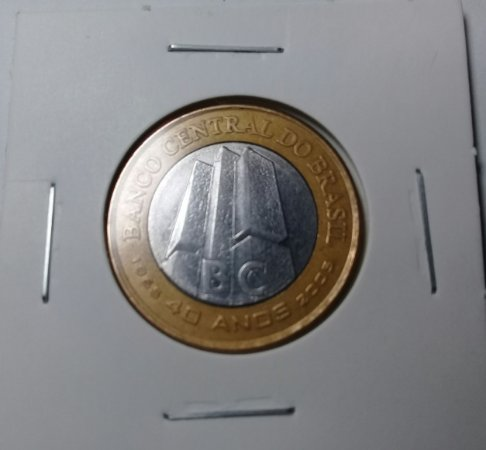 Moeda 1 Real 2005 Comemorativa 40 Anos Banco Central Bimetálica