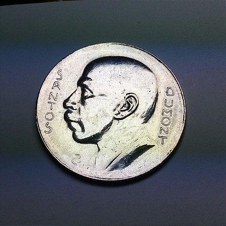 Moeda Brasil Prata 5.000 Réis Santos Dumont 1938