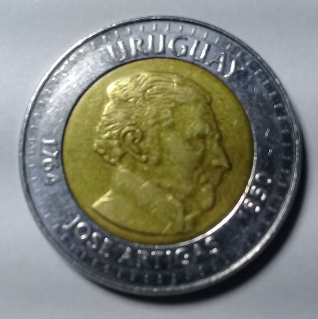 Moeda Uruguai Bimetálica 10 Pesos Ano 2000 José Artigas