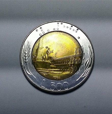 Moeda Italia Bimetálica 500 Liras Ano 1988 Linda