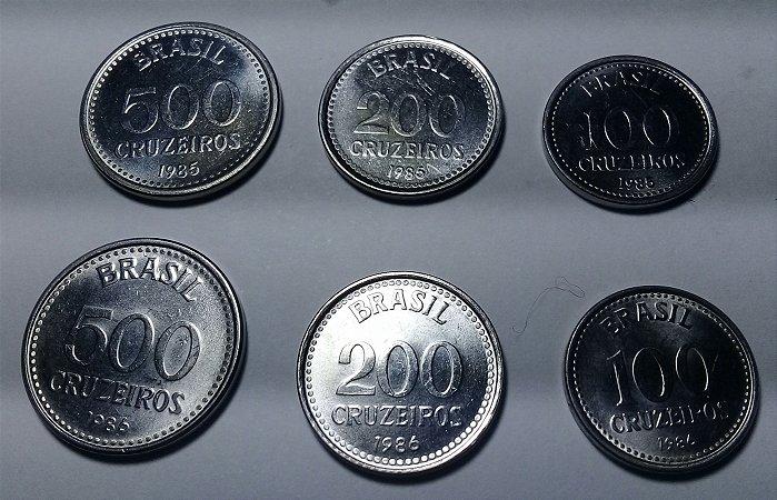 Moeda Nova República 500, 200 E 100 Cruzeiros Série Completa Ano 1985 - 1986