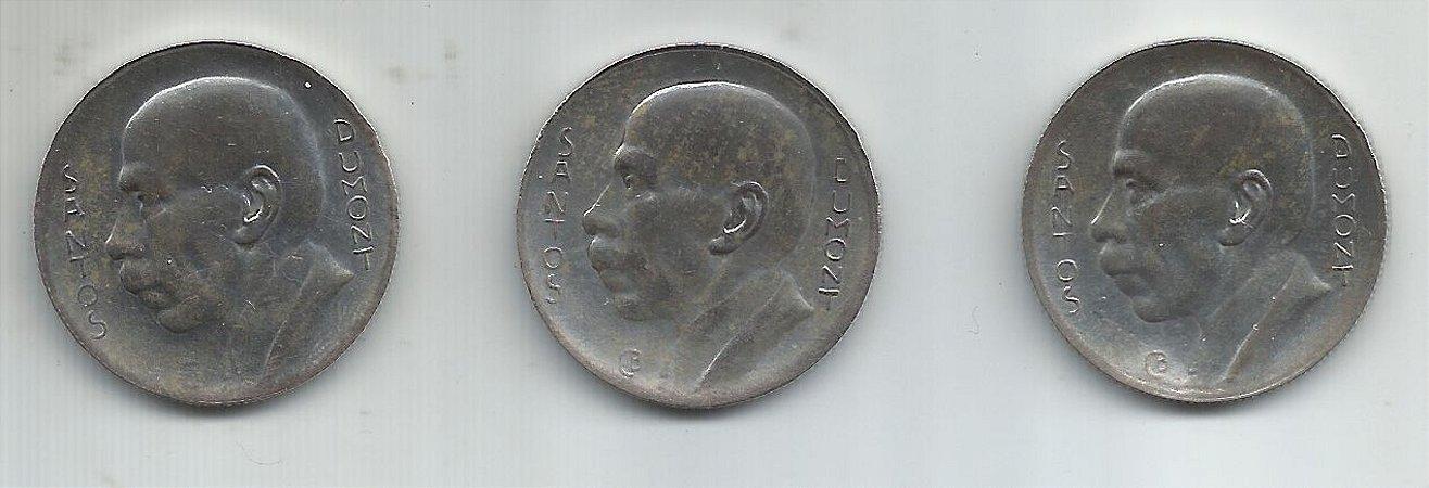 Lote 03 Moedas Brasil Prata 5000 Réis Santos Dumont 1936 1937 e 1938 Série Completa