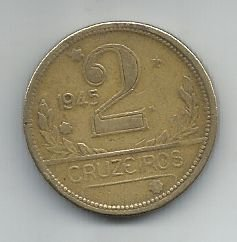 Moeda Brasil 2 Cruzeiros 1945 Bronze Alumínio 25mm