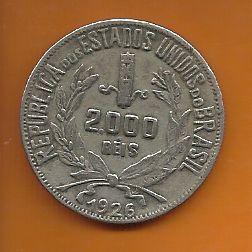 Moeda Brasil Prata 2000 Réis 1926 Mocinha