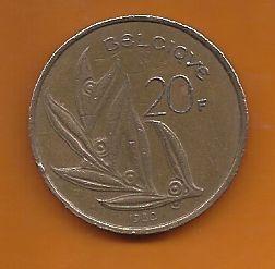 Moeda Bélgica 20 Francos 1980 Bronze Níquel 25mm