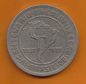Moeda Brasil 400 Réis 1932 Colonização Série Vicentina