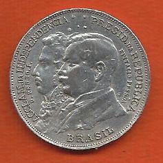 Moeda Brasil Prata 2000 Réis 1922 Centenário da Independência