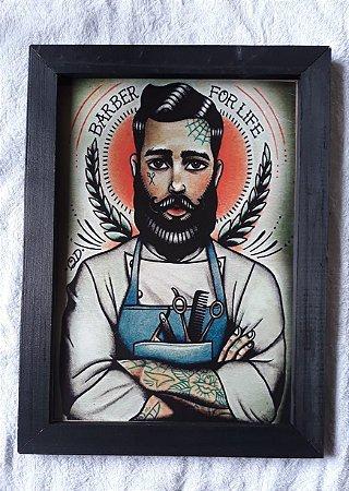 Quadro Decorativo Barbearia Grande  40x30  Retro Vintage Placa de MDF com Moldura na Cor Preta