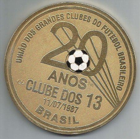 Medalha Comemorativa 20 Anos Clube dos 13 Ano 1987 Futebol 80mm - ML