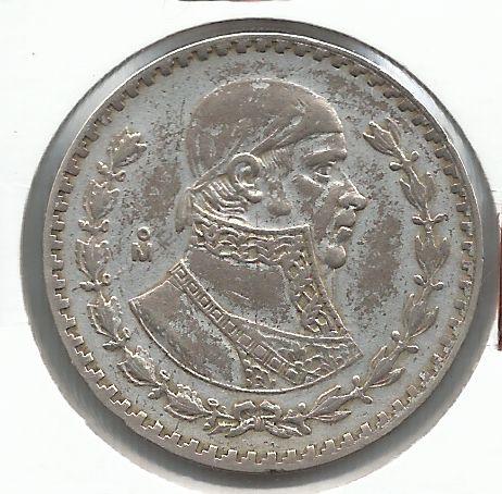 Moeda México 1 Peso 1960 Prata 34mm José Morelos