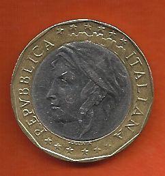 Moeda Itália Bimetálica 1000 liras 1997 da União Europeia Mapa antigo da Alemanha Ocidental