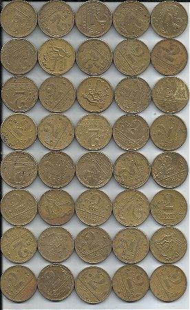 Moeda Brasil Lote 40 Moedas 2 Cruzeiros Bronze Alumínio Para Fazer Aliança Várias Datas