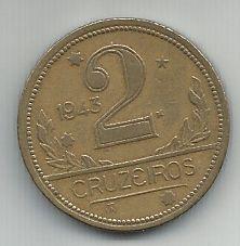 Moeda Brasil 2 Cruzeiros 1943 Bronze Alumínio 25mm Para Coleção Antiga