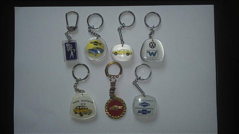 Chaveiro Lote 7 Chaveiros Antigos Coleção Tema Automóveis
