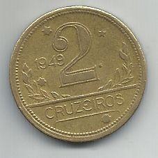 Moeda Brasil 2 Cruzeiros 1949 Bronze Alumínio 25mm Para Coleção Antiga
