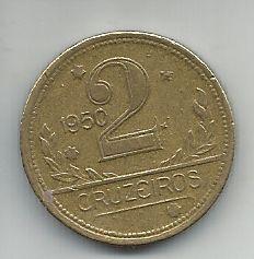 Moeda Brasil 2 Cruzeiros 1950 Bronze Alumínio 25mm Para Coleção Antiga