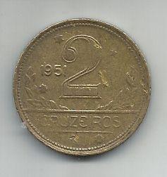 Moeda Brasil 2 Cruzeiros 1951 Bronze Alumínio 25mm Para Coleção Antiga