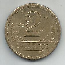 Moeda Brasil 2 Cruzeiros 1954 Bronze Alumínio 25mm Para Coleção Antiga