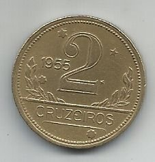 Moeda Brasil 2 Cruzeiros 1955 Bronze Alumínio 25mm Para Coleção Antiga