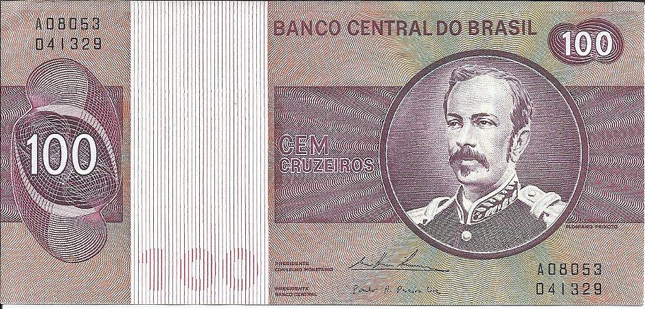 Cédula Brasil Lote 5 Cédulas Cruzeiros 100, 50, 10, 5 e 1 Cruzeiro 1973 a 1980 FC