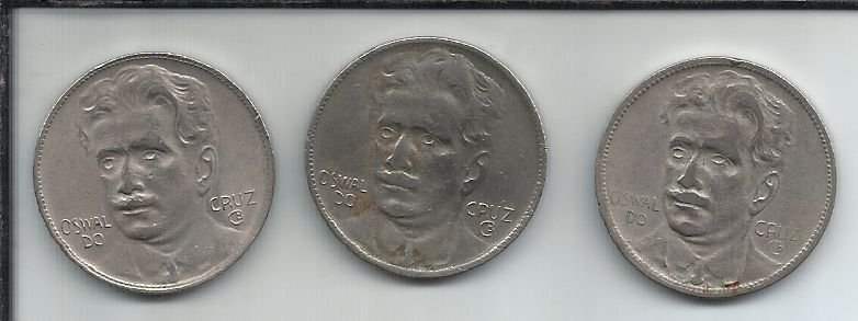 Moeda Brasil 400 Réis 1936, 1937 e 1938 Oswaldo Cruz Série Completa