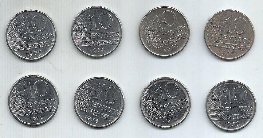Moeda Brasil 10 Centavos Cruzeiro 1967, 1970, 1974, 1975, 1976, 1977, 1978 e 1979 Inox Série Completa