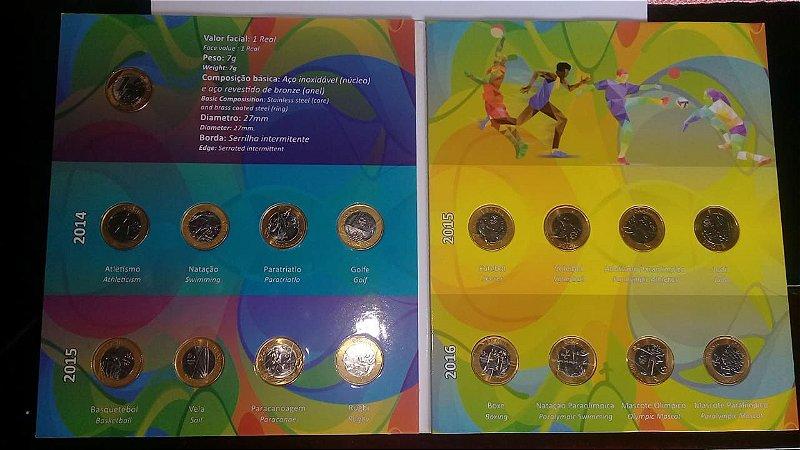 Moeda Olimpíadas Lote 16 Moedas Mais 1 Álbum Novo E Brinde Moeda 1 Real 50 Anos Banco Central