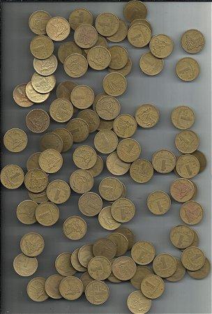 Moeda Brasil Lote 100 Moedas 1 Cruzeiro 1943 a 1949 Bronze Alumínio Mapa Brasil
