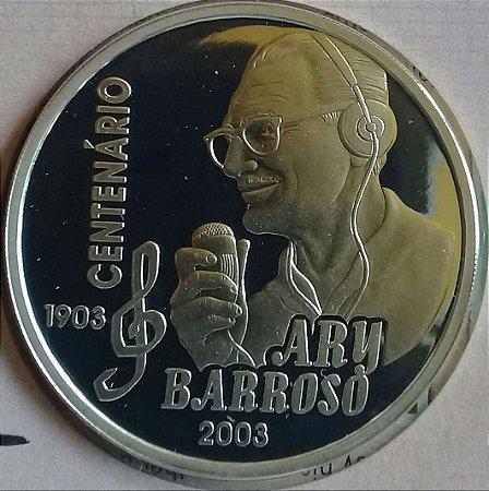 Moeda Brasil Prata 2 Reais 2003 Centenário Ary Barroso Na Cartela Casa Da Moeda