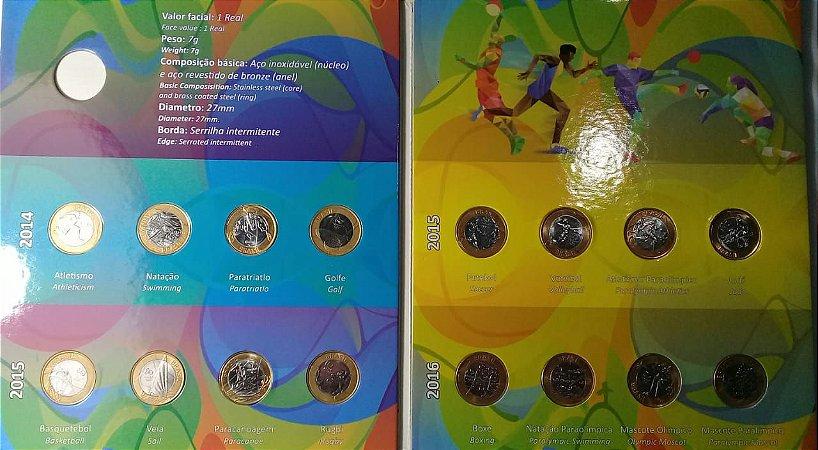Moedas Olimpíadas 1 Real Álbum com 16 moedas FC Brinde Moeda Beija-flor FC