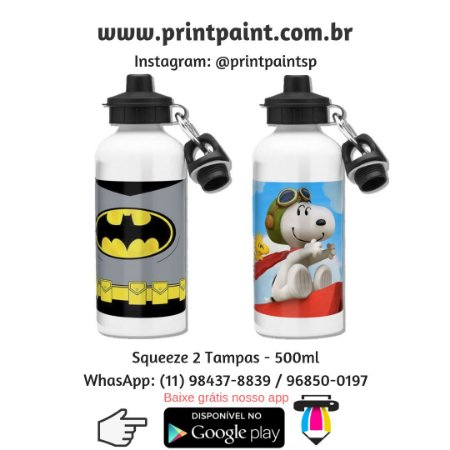 Squeezes com 2 tampas - 500ml