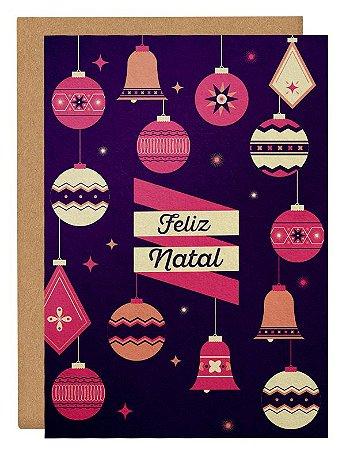 Cartão Enfeites Natal - lilás