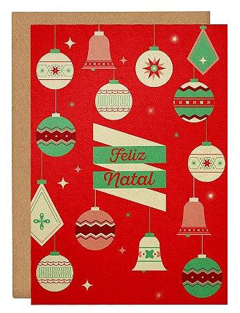 Cartão Enfeites Natal - vermelho
