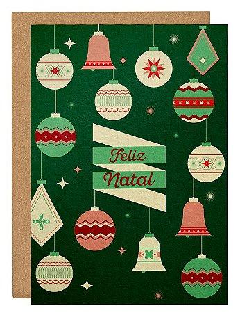 Cartão Enfeites Natal - verde