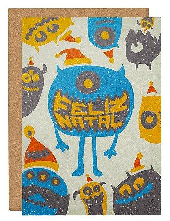 Cartão Natal monstros - bege